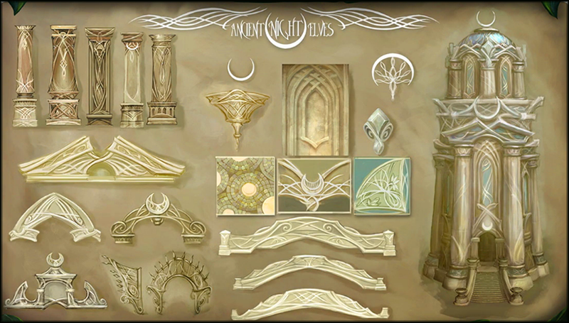 This is Legion's ancient Night Elf architecture style sheet.
